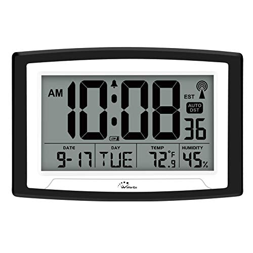 Atomic Clock,Digital Wall Clock or Desk Clock,Battery Operated,Self-Setting Digital Alarm Days Clock Large Display for Seniors,Temperature, Humidity and Date,Auto DST.