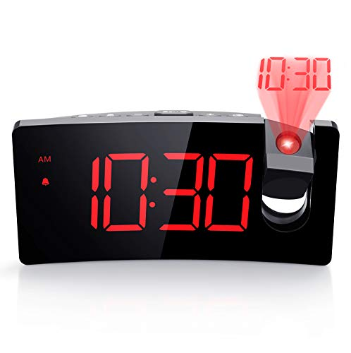 Projection Alarm Clock, 4 Dimmer, Digital Clock with USB Phone Charger, Easy to Use, Clear Big Red Digit, 5'' LED Curved Screen, 180° Rotable, Digital Alarm Clocks for Bedrooms Ceiling, 12/24H