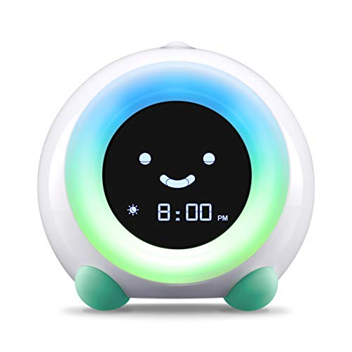 Children's Sleep Trainer, Alarm Clock, Night Light and Sleep Sounds Machine (Tropical Teal)