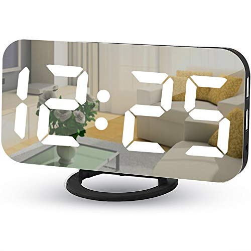 "Digital Alarm Clocks,7"" LED Mirror Electronic Clock,with 2 USB Charging Ports,Snooze Mode,Auto Adjust Brightness,Modern Desk Wall Clock for Bedroom Living Room Office - Black"