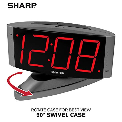Home LED Digital Alarm Clock – Swivel Base - Outlet Powered, Simple Operation, Alarm, Snooze, Brightness Dimmer, Big Red Digit Display, Gun Metal Grey Case