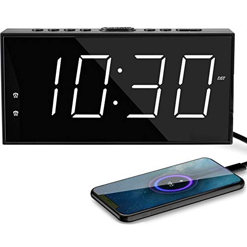 "Digital Clock,7.5""Loud Alarm Clock for Bedroom,Big LED Numbers,Dual Alarms,USB Charger, Dimmer,Snooze,12/24H,DST,Plug in/Battery Backup Digital Alarm Clocks for Nightstand Kids Elderly Adults Seniors"