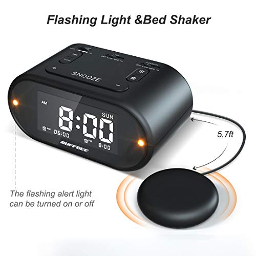 Super Loud Alarm Clock for Heavy Sleepers with Bed Shaker, Flashing Alert Light, Full Range Dimmer, USB Charger, Battery Backup Vibrating Alarm Clock for Bedrooms