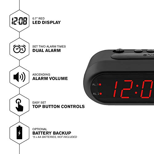 Digital Alarm Clock – Black Case with Red LEDs - Ascending Alarm Grows Increasing Louder, Gentle Wake Up Experience, Dual Alarm - Battery Back-up, Easy to Use with Simple Operation