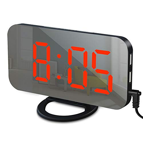 Alarm Clock with USB Charger, Digital Alarm Clocks for Bedrooms, Large Mirror Surface, Easy Snooze Function, Dimming Mode Auto/Manual Adjustable Brightness Bedside Alarm Clocks (Black/Red)