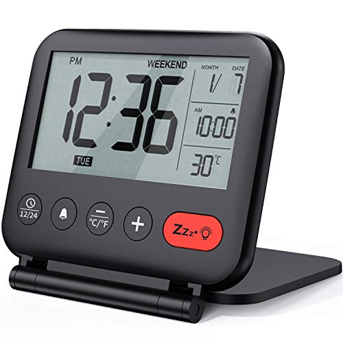 Digital Travel Alarm Clock – Mini Portable LCD Display Clock with Backlight (LCD Screen)