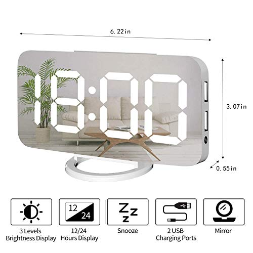Digital Alarm Clock,Large Mirrored LED Clock,Snooze,Dim Night Light 2 USB Charger Ports Desk Alarm Clocks for Bedroom Decor (White)