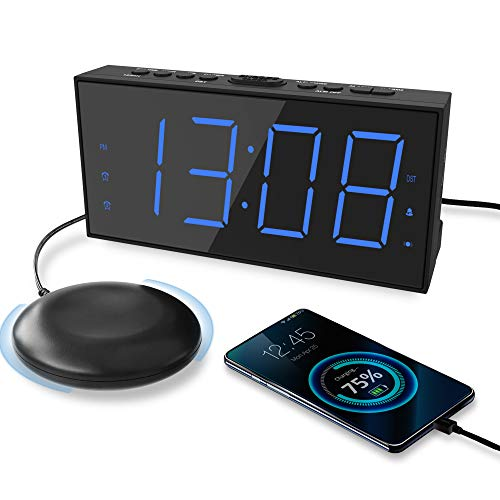 Extra Loud Alarm Clock with Bed Shaker, Vibrating Alarm Clock for Heavy Sleepers Hearing Impaired Deaf Teens, Dual Alarm Clock with 7.5'' Large Display, USB Charger, Dimmer, Snooze & Battery Backup