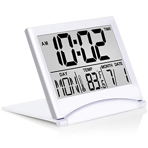 Digital Travel Alarm Clock - Foldable Calendar & Temperature & Timer LCD Clock with Snooze Mode - Large Number Display, Battery Operated - Compact Desk Clock for All Ages (Silver)