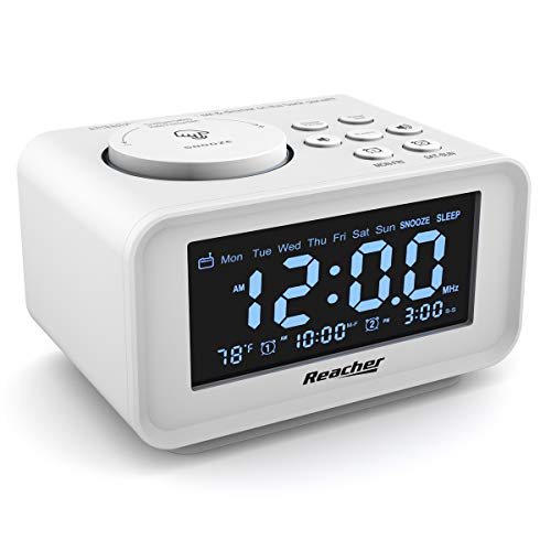 Dual Alarm Clocks Radio - Weekday/Weekend Mode, 0-100% Dimmer, Dual USB Charging Ports, 6 Wake Up Sounds, Adjustable Volume, FM Radio with Sleep Timer, Battery Backup, Small Size for Bedroom