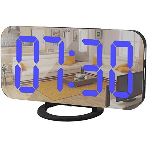 Digital Alarm Clock,Mirror Surface LED Electronic Clocks,with USB Charger,Snooze Model, Auto/Custom Brightness,for Office Table Bedroom Nightstand(Black-Blue)