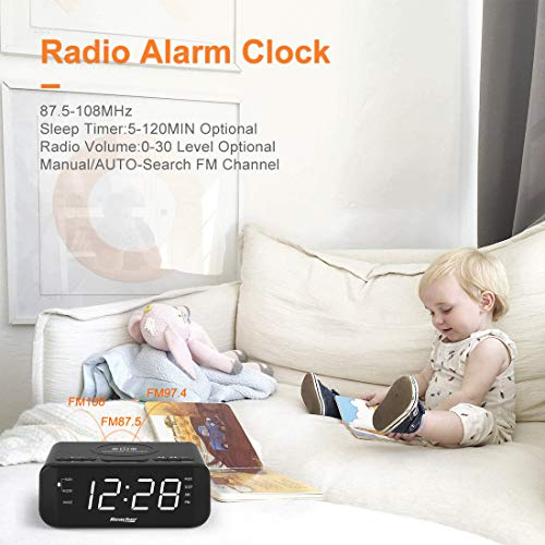 Digital Radio Alarm Clock with Wireless Charging - USB Port, Large Dimmable LED Display, Sleep Timer, 2 Wake up Sounds, Adjustable Loud Volume, Snooze, 12/24H, Modern FM Clock for Bedrooms