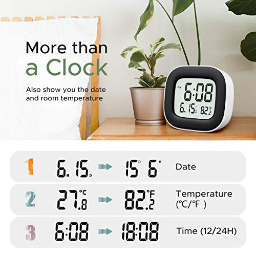 Travel Alarm Clock, Digital Clock with Snooze, Backlit, Temperature, Date, Simple Basic Operation, Bedside Digital Clock Battery Powered for Bedroom, 12/24H (White)