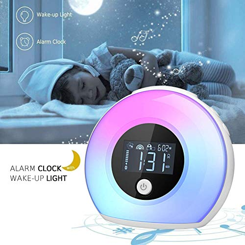 Wake Up Light Bluetooth Speaker, Table Lamp Alarm Clock, Night Light Bluetooth Speakers Lamp, Dimmable Warm Light & Colorful Light Beside Lamp Music Player for Kids, Party, Bedroom, Camping