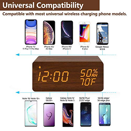 Wooden Digital Alarm Clock with Wireless Charging, 3 Alarms LED Display, Sound Control and Snooze Dual for Bedroom, Bedside, Desk, Office, Brown