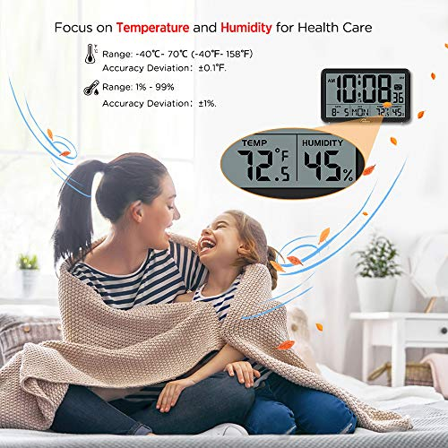Digital Wall Clock, Autoset Desk Clocks with Temperature, Humidity and Date, Battery Operated Digital Clock Large Display, 8 Time Zone, Auto DST.