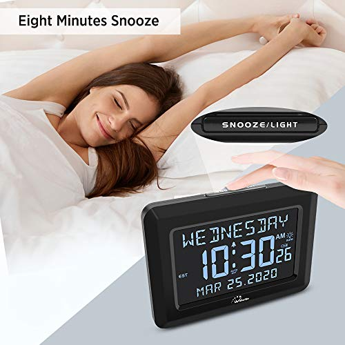 "Digital Clock,Autoset Alarm Clock for Bedroom,USB Charger or Battery Operated,7 Brightness,6"" Large Display Desk Clock for Seniors or Alzheimer's,Auto DST,Calendar Days Alarm Clocks."