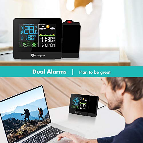 Projection Alarm Clock, Digital Clock Projector on Ceiling with Indoor/Outdoor Temperature Display, Dual Alarms, WWVB, Colored Backlight, Weather Forecast, and Battery Backup for Bedroom