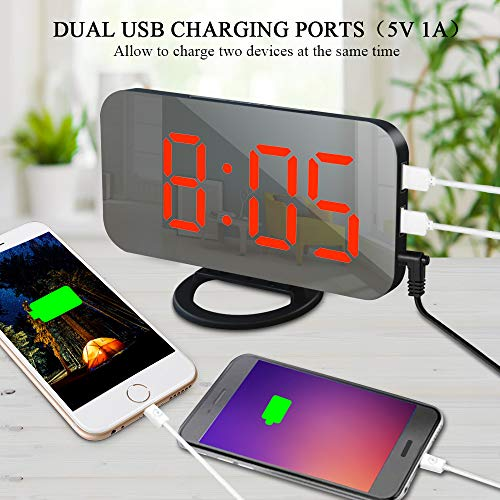 Modern Mirror Surface Alarm Clock for Room Decor with Snooze Function Remeel Digital Alarm Clock with USB Charger Ports Auto Dimming and Manual Dimmer Adjustable Brightness Big Number Bedroom Clock
