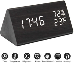 Digital Alarm Clock, with Wooden Electronic LED Time Display, 3 Alarm Settings, Humidity & Temperature Detect, Wood Made Electric Clocks for Bedroom, Bedside, Black