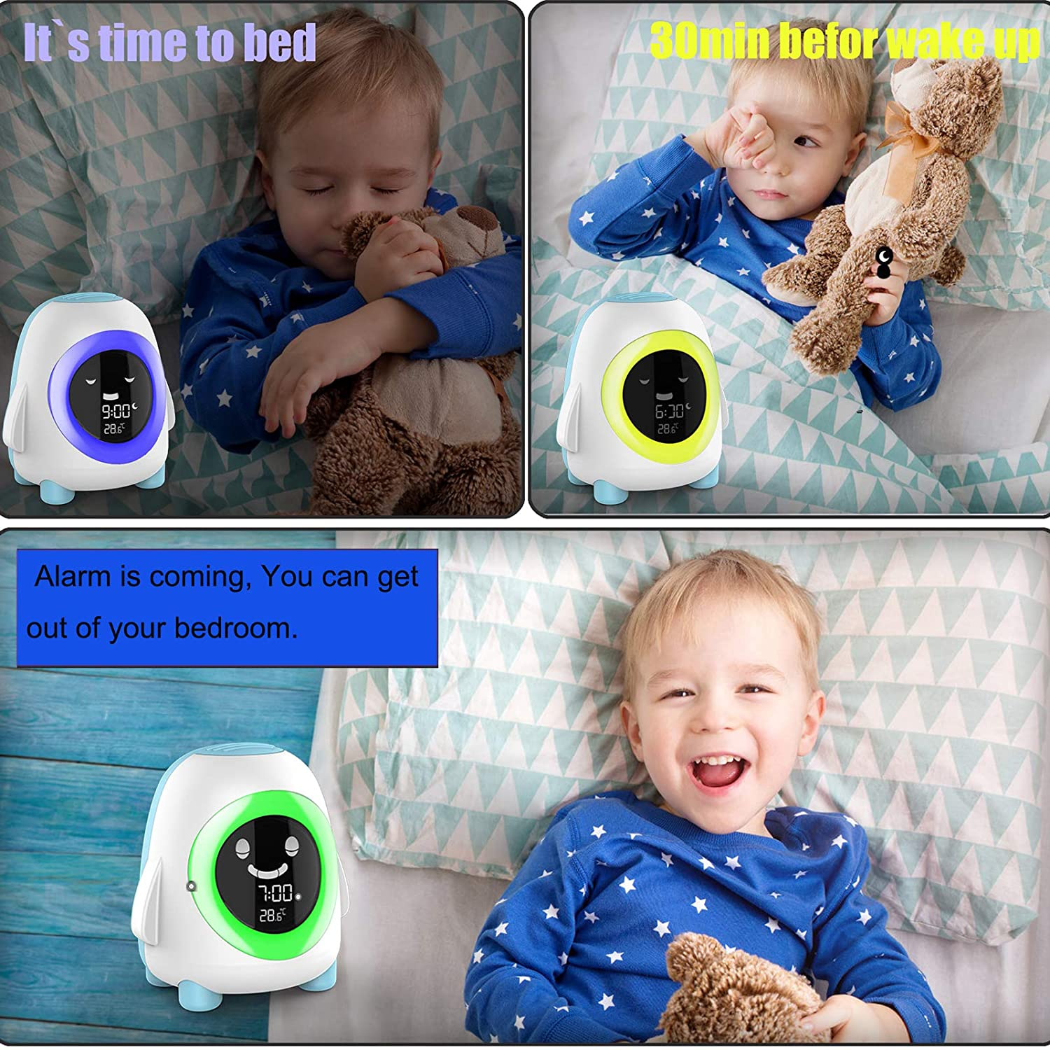 Alarm Clock for Kids ,Digital Wake Up Clock with 5 Color Changeable Night Light, Sleep Sound Machine, NAP Timer, Toddler Children Sleep Trainer Bedside Kids Alarm Clock for Boys Girls Bedroom