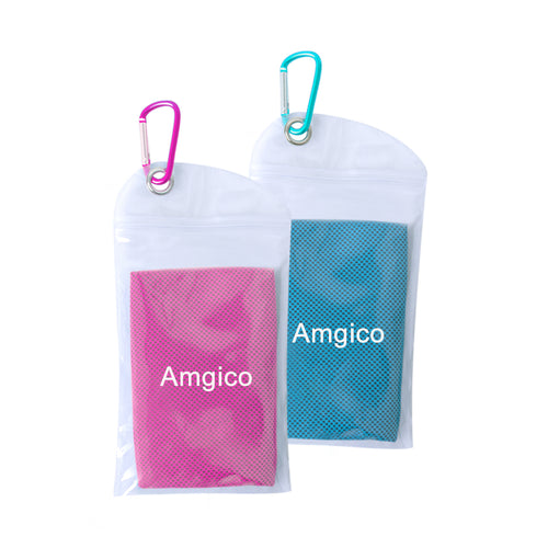 "Amgico 2 Pack Mixed Color (Pink/Light Blue) Cooling Towel (40""x12""),Hiking, Bowling, Travel, Outdoor Sports"