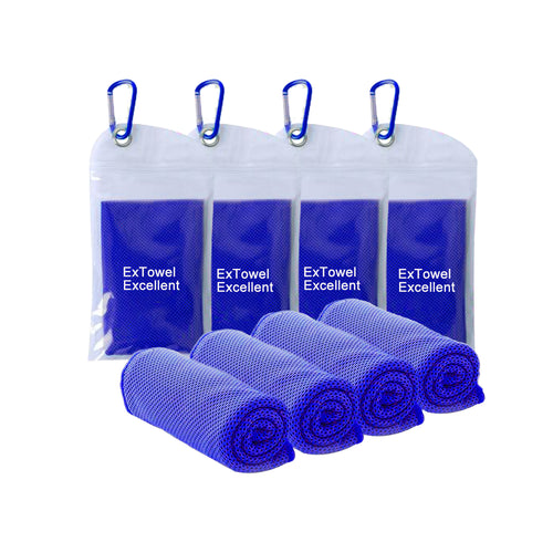 "ExTowel Excellent [4 Pack] Royal Blue Cooling Towel (40""x12"") Outdoor Sports,Pilates,"