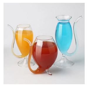 Wine Whiskey Glass with Drinking Tube Straw