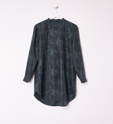 Shadow Print Silk  Mandarin Collar Long Shirt