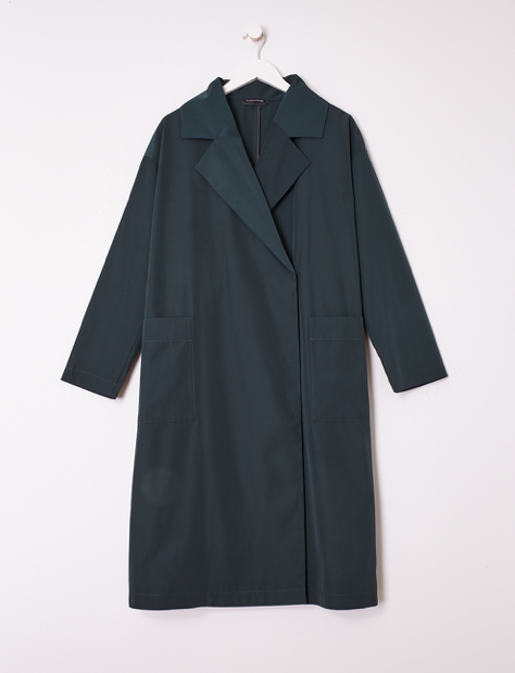 Recycled Polyester Notch Collar Trench Coat
