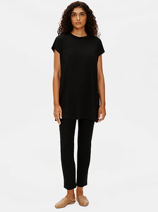 Fine Jersey High Crew Neck Top by Eileen Fisher