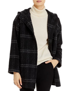 Luxe Alpaca Windowpane Hooded Coat