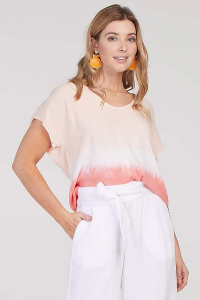 Dip Dyed Drop Shoulder Top by Tribal
