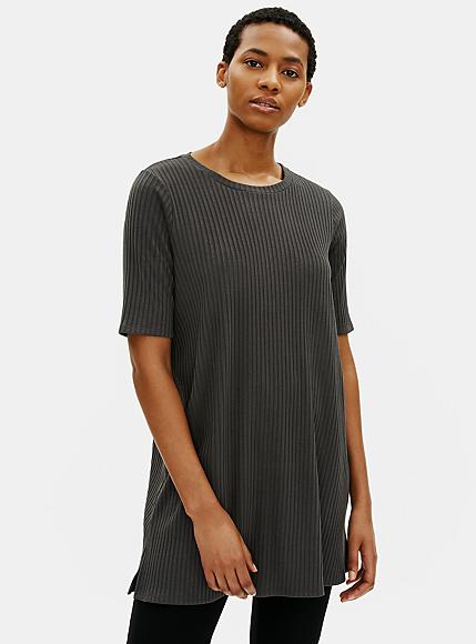 Round Neck Elbow Sleeve Tunic