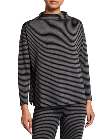 Stretch Terry Stripe Funnel Neck Box Top