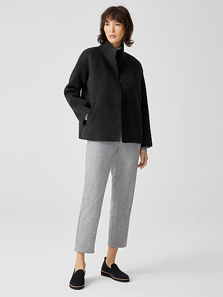 Doubleface Wool Cashmere Stand Collar Boxy Coat