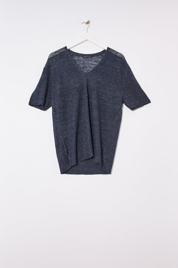 Organic Linen Melange V-neck Short Sleeve Top