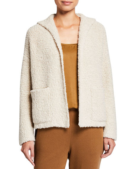 Knit Fur Hooded Cardigan