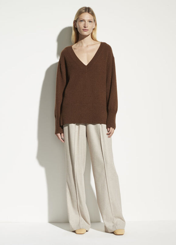 Ribbed Hem V-Neck Cashmere Sweater