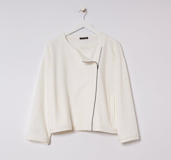 Flex Tencel Ponte Round Neck Zip Jacket