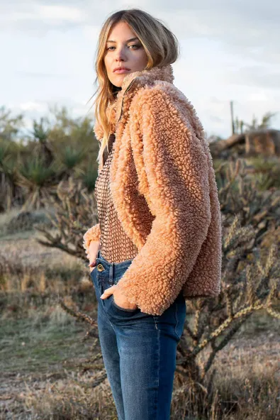 Fuzzy Zip Front Jacket