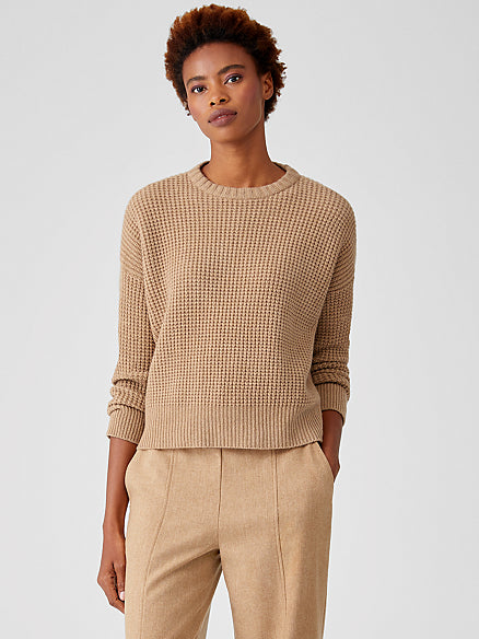 Lofty Recycled Cashmere Waffle Knit Sweater