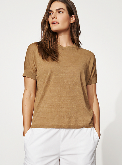 Organic Linen + Cotton Crew Neck Top