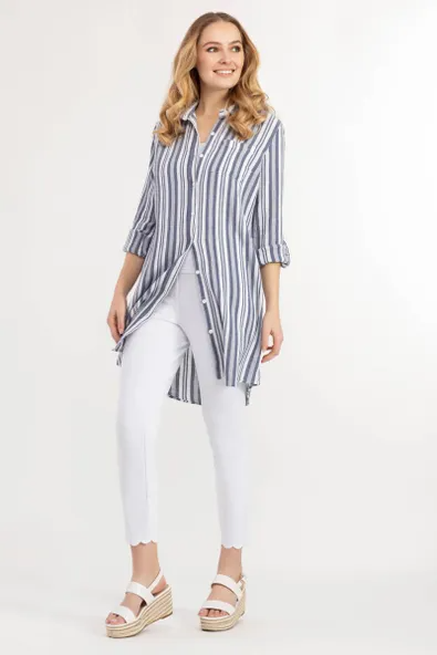 Yarn Dyed Gauze Striped Shirt Dress