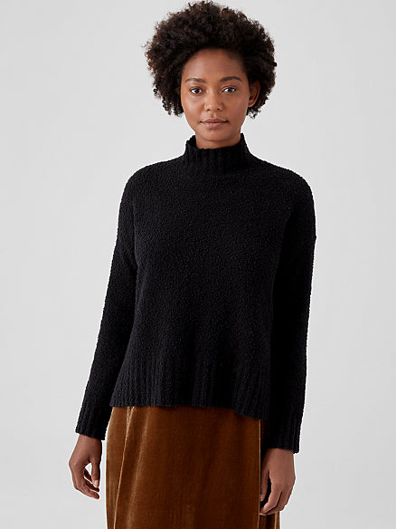 Organic Cotton Boucle Turtleneck Box Top