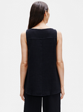 Cotton Lofty Gauze Bateau Neck Swing Shell by Eileen Fisher