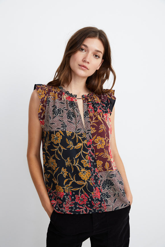 Printed Challis Sleeveless Top
