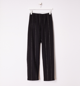 Striped Wool Flannel Tapered Ankle Pant