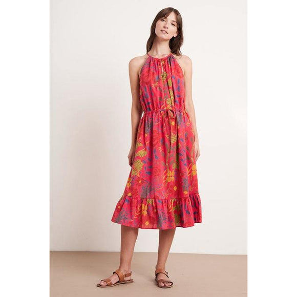 Purl Madras Floral Printed Dress