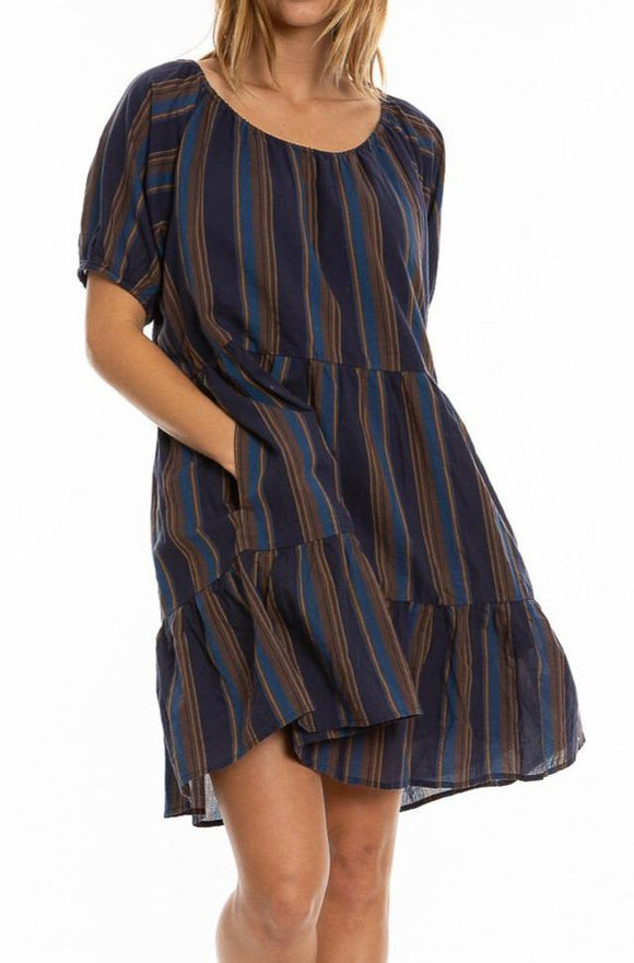 Maxwell Stripe Tiered Dress with Pockets by Dylan